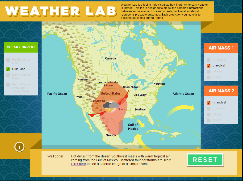 Weather Lab Predict Weather Patterns The Infinite Spider - Air masses map of us hot dry cool moist